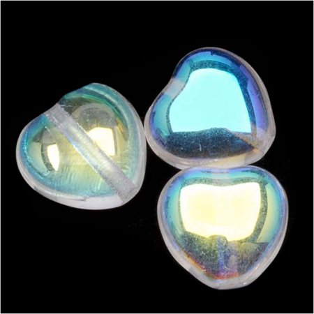 Czech Glass - Heart Shaped Beads 8.5x7.5mm 'Crystal AB' (25) - Heart Shaped Glasses