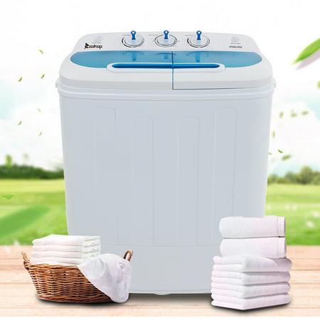 Ktaxon Electric Washing Machine,13.4Lbs Twin Tub?Wash 7.9LBS+Spin 5.5LBS? Capacity Portable Compact Mini Washer?White & Blue