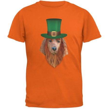 St. Patricks Day - Irish Setter Leprechaun Orange Adult T-Shirt for $<!---->