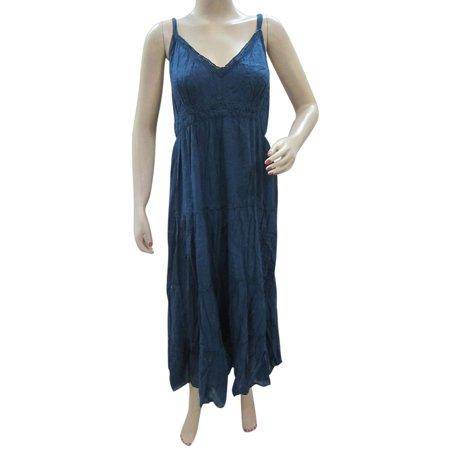 Mogul Women's Sexy Blue Strappy Maxi Dress Crochet Neckline Beach Dresses Crochet Neckline Dress