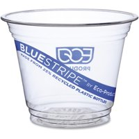 Eco-Products, ECOEPCR9, BlueStripe Cold Cups, 1000 / Carton, Clear