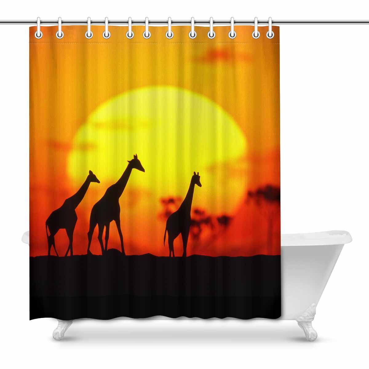 Mkhert Giraffe Family Silhouette Over Sunrise In Kenya African Savanna House Decor Shower Curtain For Bathroom Decorative Fabric Bath Curtain Set