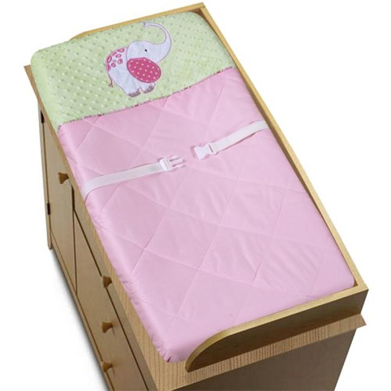 Pink and Green Jungle Friends Girls Baby Changing Pad Cov...