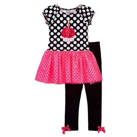 Rare Editions- Black/ White Polka Dot Cupcake Tutu Legging Set CLEARANCE 12 - Cupcake Outfit