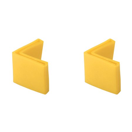 2 Pcs Yellow Soft PVC Angle Iron Foot Pad L Shaped Edge Leg Cover 25mmx25mm