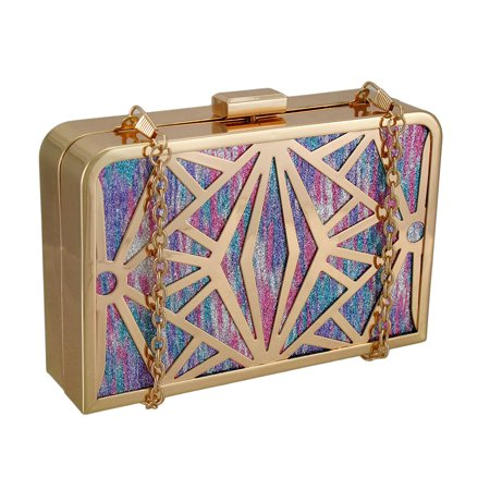 Glittering Metallic Rainbow Stained Glass Look Clutch Purse