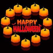 Halloween Tealights, 12PCS Pumpkin Lights Pumpkin LED Lights Pumpkin Decor for Halloween Thanksgiving Day