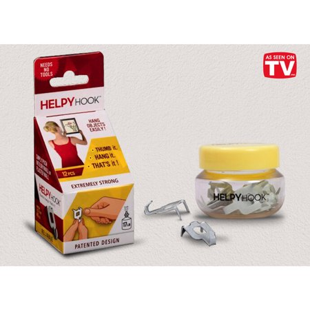 HelpyHook Amazing Picture Hanger, push Hook with Thumb in Drywall, holds 17 lbs, 12 hooks
