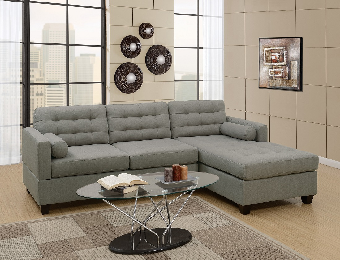 Modern 2pcs Sectional Sofa Grey Linen Like Fabric Accent Tufted Sofa  Reversible Chaise Retro Design Living Room Furniture