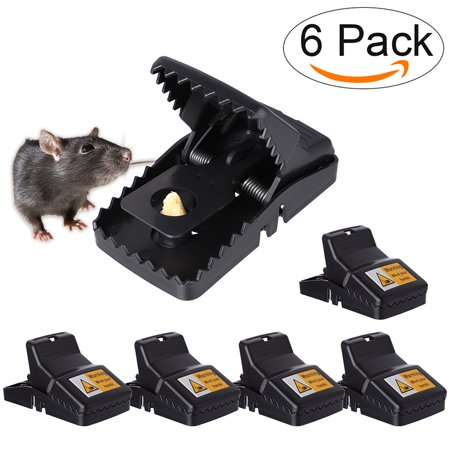 Mancro Pest Control Rat Traps (Set of 6) Humane Rat Trap for 100% Kill Results Safe & Sanitary Rodent Killer with Bait Cup Effective Anti-Rodent Infestation -