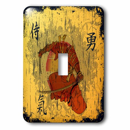 3dRose Japanese Samurai With Swords Kanji Brave Energy Samurai Symbols Oriental Design - Single Toggle Switch