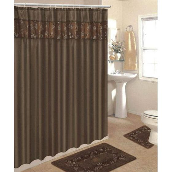 4 Piece Bathroom Rug Set 3 Chocolate Ring Bath Rugs With Fabric Shower Curtain