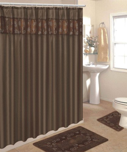 4 Piece Bathroom Rug Set/ 3 Piece Chocolate Ring Bath Rugs With Fabric Shower  Curtain