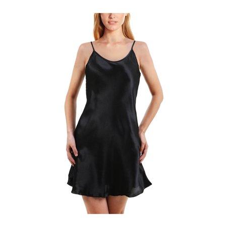 Unique Bargains Women's Plus Size Lotus Leaf Hem Basic Silk Slip Dress Nightgown (Renaissance Gowns Plus Size)