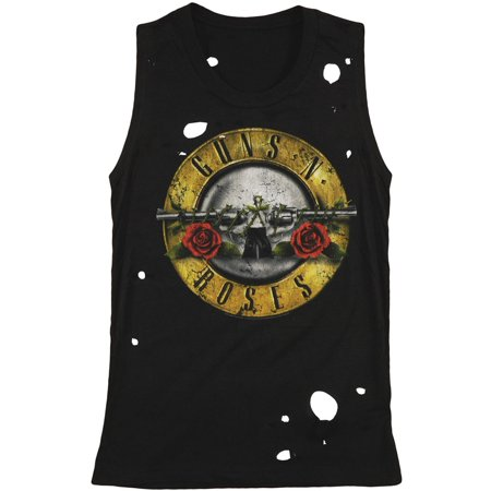 Tank Engine Circles (Guns N Roses Women's  Circle Guns Destroyed Womens Tank)