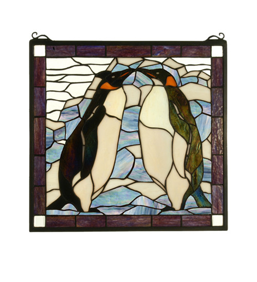 Meyda Tiffany 71599 Tiffany Square Stained Glass Window Pane from the Penguin Collection