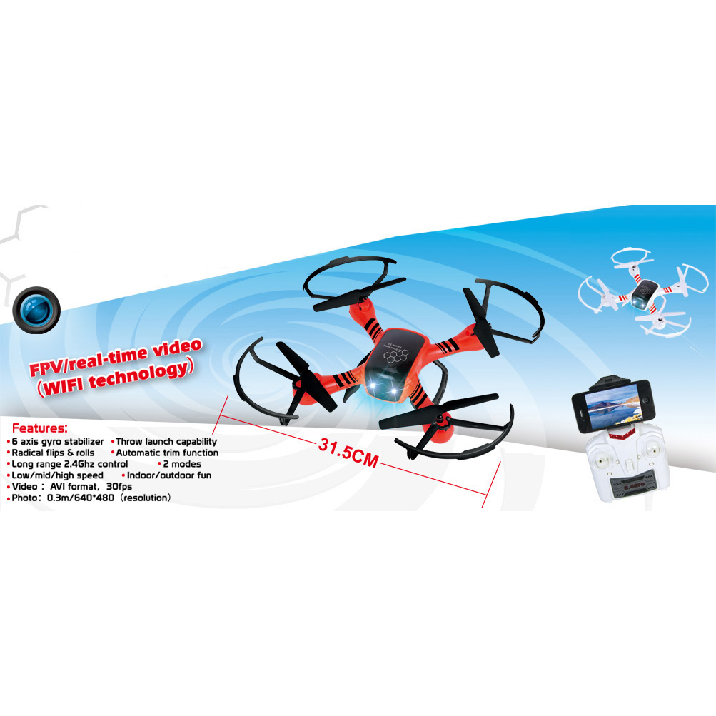 Force Flyers AXIS 2.4GHz 4-Channel RC Copter Drone with Camera by PaulG Toys Corp