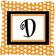 Carolines Treasures CJ1033-DPW1414 Monogram Initial D Orange Polka dots Indoor & Outdoor Fabric Decorative Pillow
