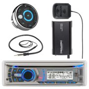 """Dual Electronics AMB600W Marine Boat Bluetooth CD/MP3 Stereo Receiver Bundle Combo With MWR15 Waterproof Wired Remote Control + SiriusXM SXV300v1 Satellite Radio Tuner Kit + Enrock 22"""" Radio Antenna"""