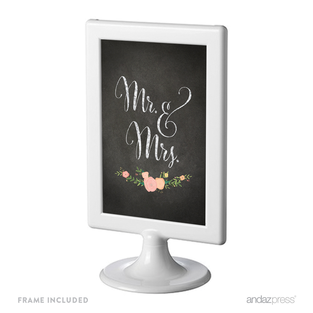 Mr. & Mrs. Framed Chalkboard & Floral Roses Wedding Party Signs