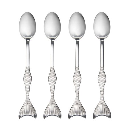 Wallace 5228040 Mermaid Iced Beverage Spoons, One Size, Stainless Steel Wallace Sterling Sugar Spoon