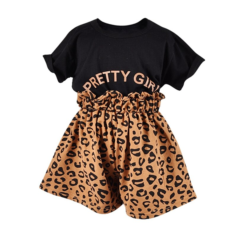 2PCS Toddler Kids Baby Girls Leopard Print T-shirt Shorts Sports Outfits Clothes
