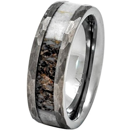 Finished Comfort Fit Wedding Band (Deer Antler Ring in Tungsten Hammered Finish 8mm Comfort Fit Wedding Band (8.5))