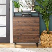 Modern Glass Top 3-Drawer Dark Walnut Storage Cabinet by Manor Park