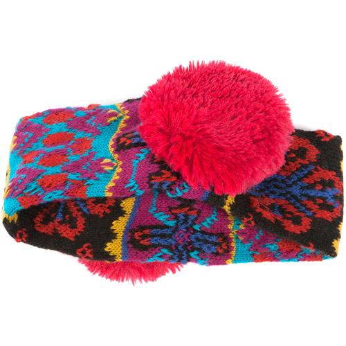 MUK LUKS Girls' Flower Fairisle Headband Earmuffs - Pink Multi