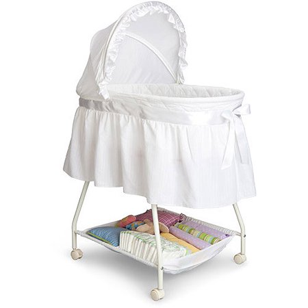 Delta Children Classic Sweet Beginnings Bassinet, White (Simmons Kid Bassinet)