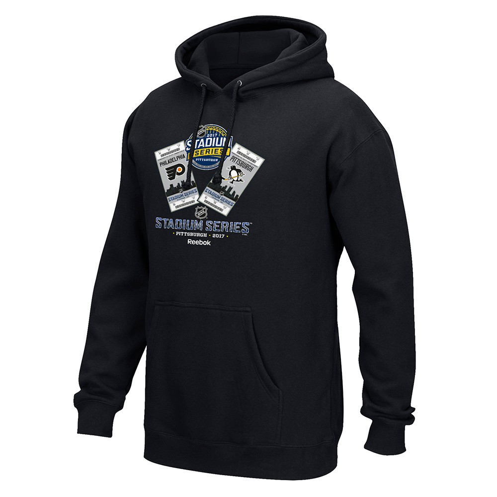 "2017 Stadium Series NHL Reebok Black Pittsburgh Penguins vs Philadelphia Flyers ""Hottest Ticket"" Hoodie For... by Reebok"