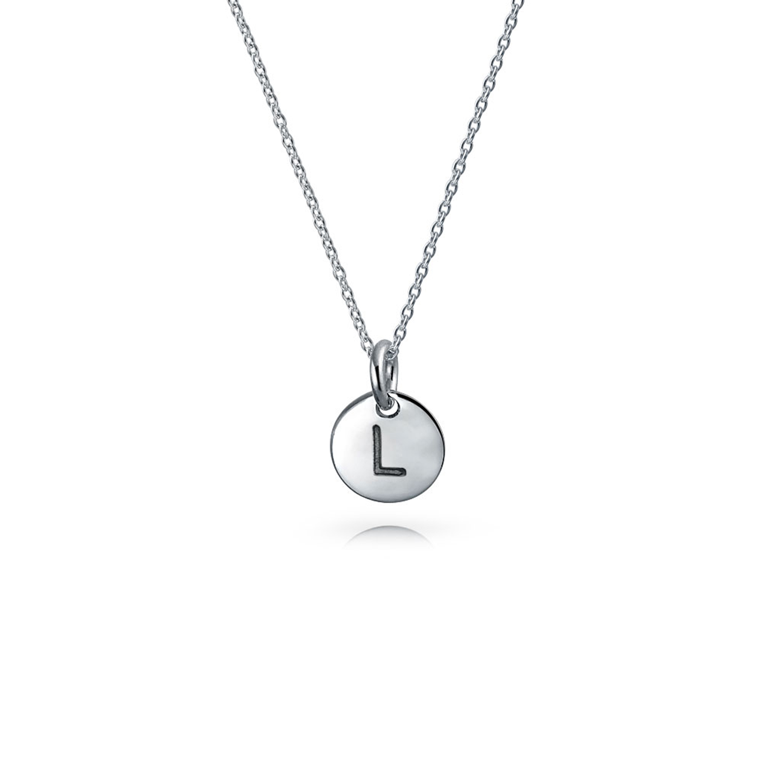 925 Silver Petite Letter L Initial Disc Pendant Necklace 18in