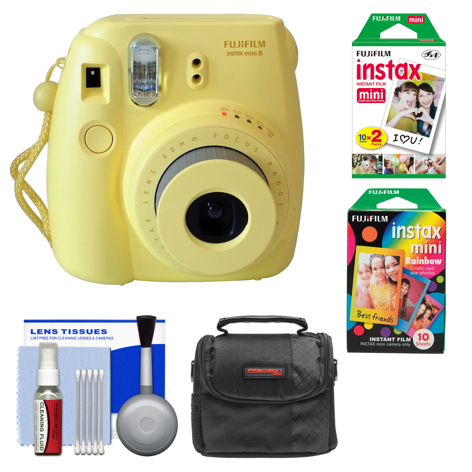 Fujifilm Instax Mini 8 Instant Film Camera (Yellow) with Instant Film & Rainbow Film   Case   Cleaning Kit