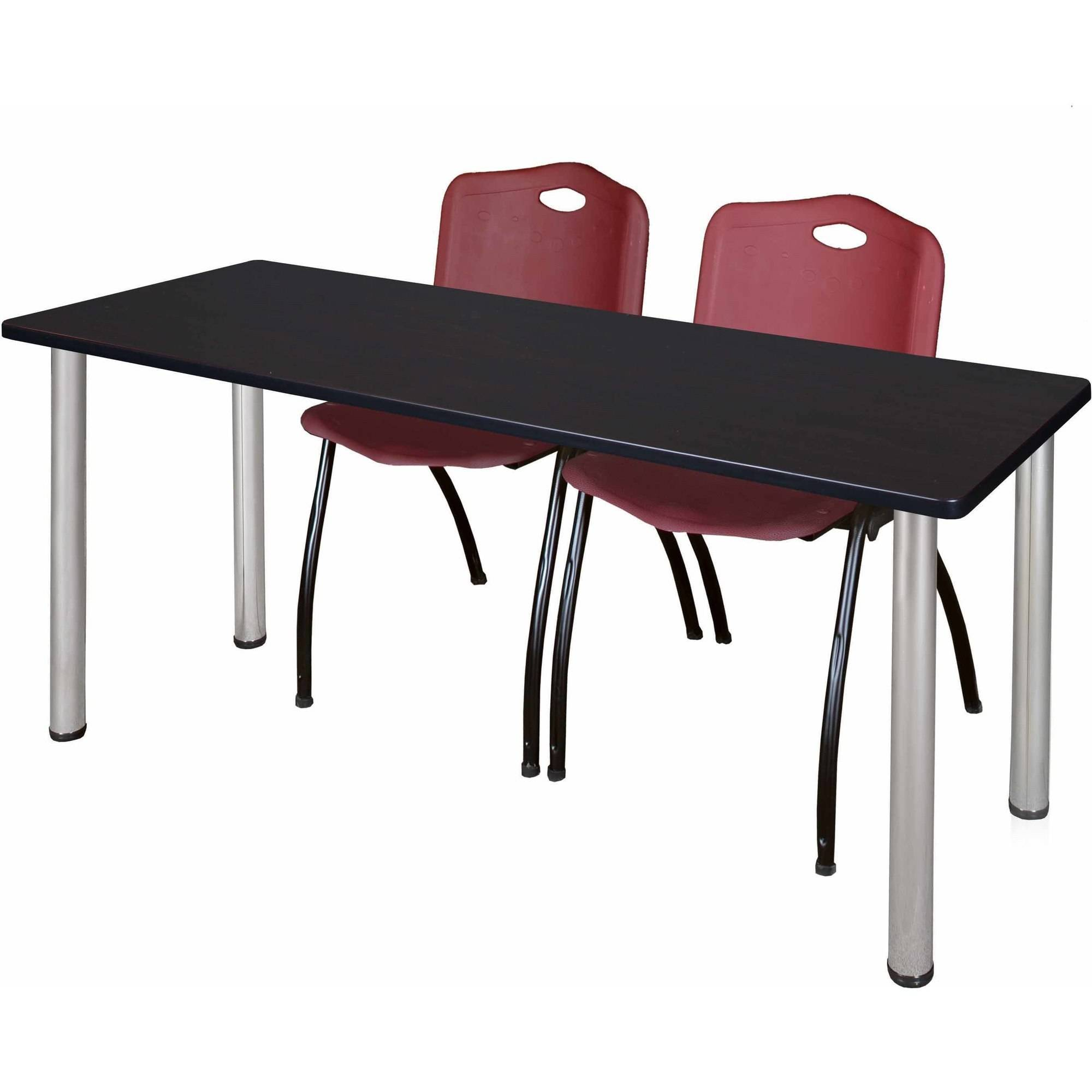 """Regency Kee 60"""" x 24"""" Training Table, Mocha Walnut/Chrome and 2 'M' Stack Chairs, Multiple Colors"""