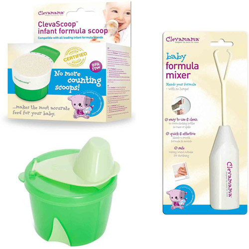 Clevamama Baby Formula Feeding Set, Green, 3-Piece Set
