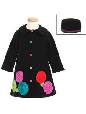 1dd812f379d3 Product Image Bonnie Jean Girls Black Bonaz Flower Fleece Coat & Hat Set 4T  Last One 4T