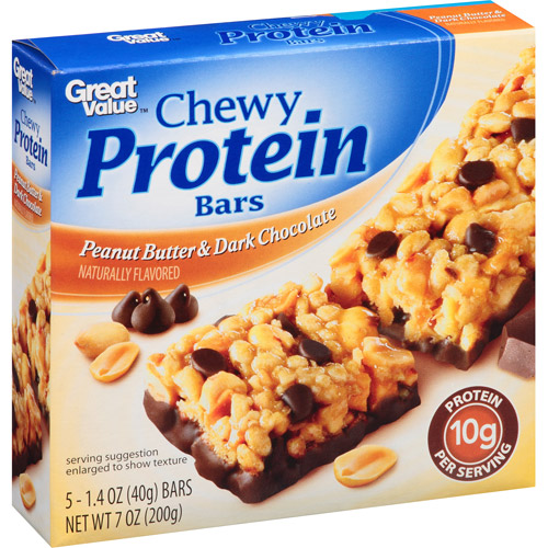 Great Value Peanut Butter & Dark Chocolate Chewy Protein Bars, 1.4 oz, 5 count 3428