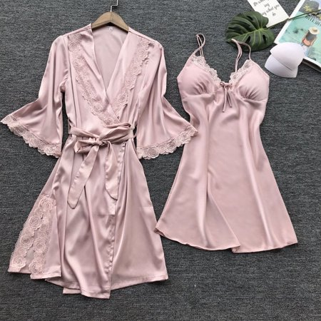 Sexy Lingerie Women Silk Lace Robe Dress Babydoll Nightdress Nightgown Sleepwear Pink S