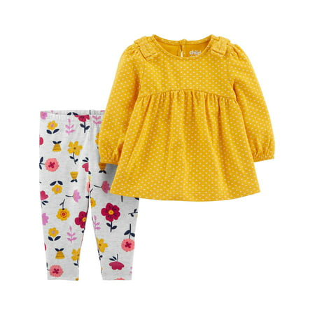 Child of Mine by Carter's Toddler Girl Long Sleeve Baby Doll Top & Pants, 2 pc Outfit set ()