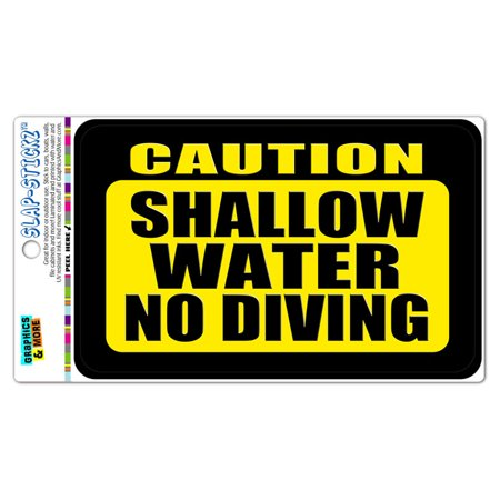 Caution Shallow Water No Diving SLAP-STICKZ(TM) Automotive Car Window Locker Bumper Sticker