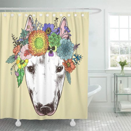 SUTTOM Hippie Bull Terrier in The Floral Wreath Chic Dog Portrait Shower Curtain 66x72 inch - image 1 of 1