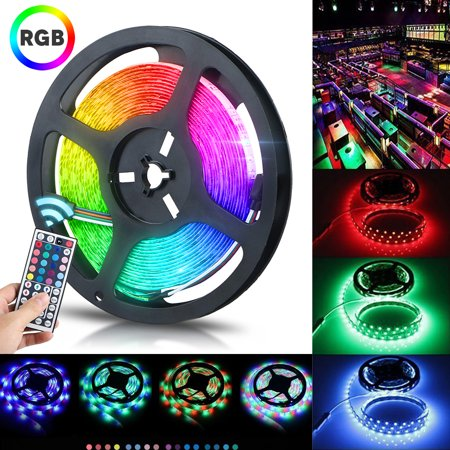 TSV 16.4ft LED Flexible Strip Lights, 300 Units SMD 5050 LEDs, 12V DC Waterproof Light Strips, RGB LED Light Strip Kit with 44Key Remote Controller and Power Supply for Kitchen Bedroom Car Party