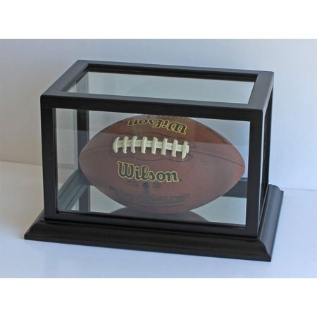 Football/Hobby Display Case Holder Stand, wooden frame with Glass, FB73-BLA
