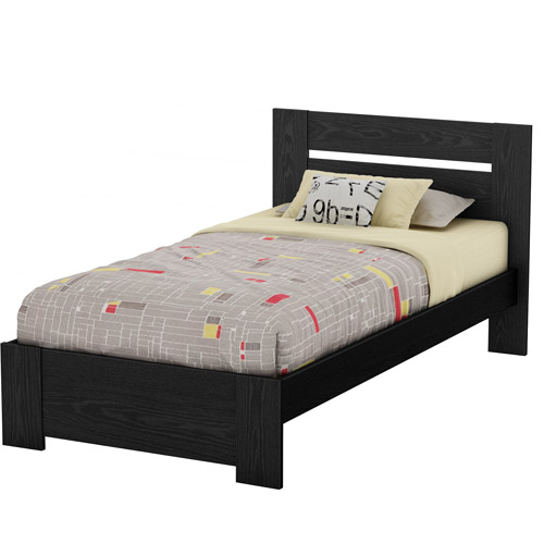South Shore Flexible Twin Platform Bed, Black Oak