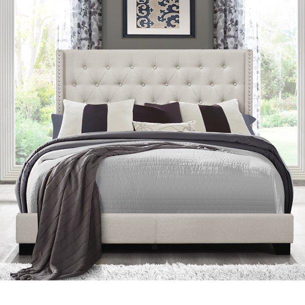 Home Source Esteban Light Grey Upholstered Full Size Bed Walmart