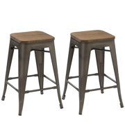 BTEXPERT® Modern 30 inch Solid Steel Stacking Industrial Rustic Metal Bar Stool with Wood Top (set of 2 barstool)