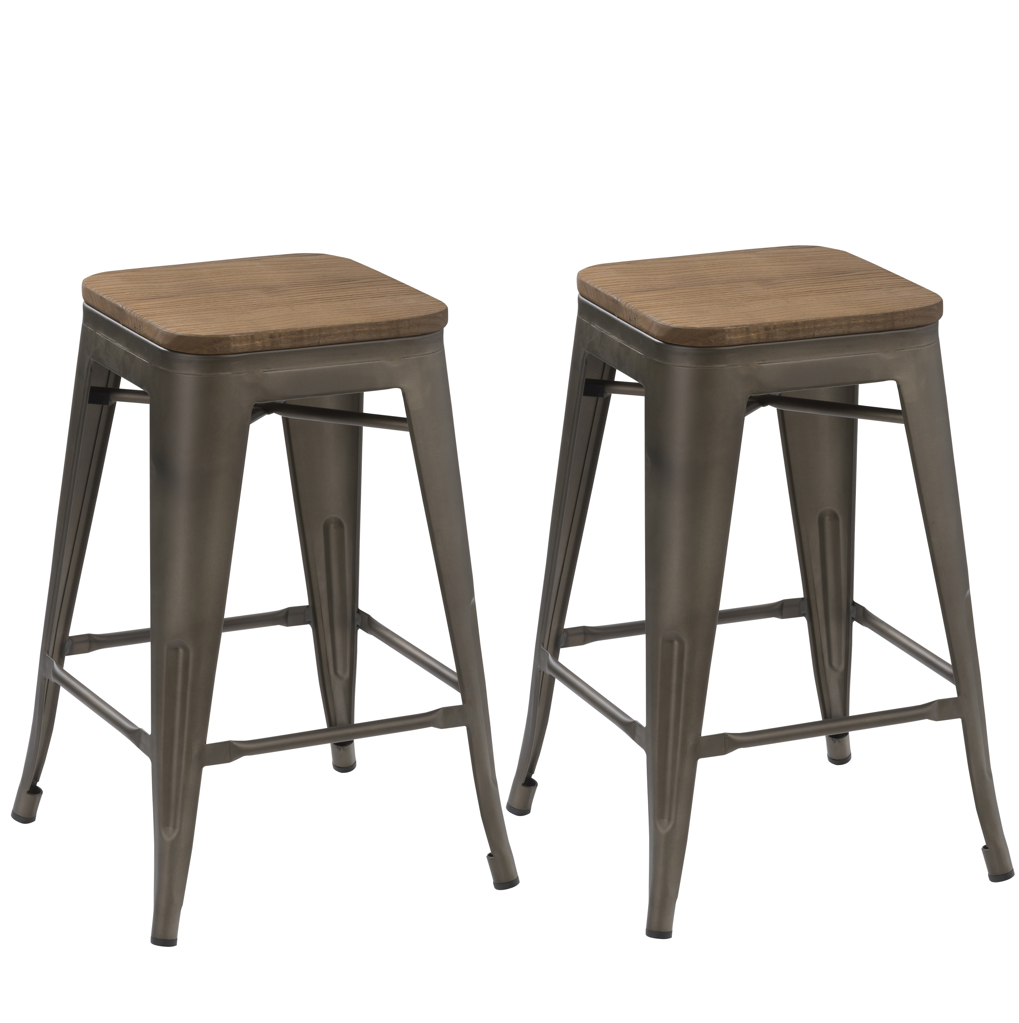 Perfect BTEXPERT® Modern 30 Inch Solid Steel Stacking Industrial Rustic Metal Bar  Stool With Wood Top
