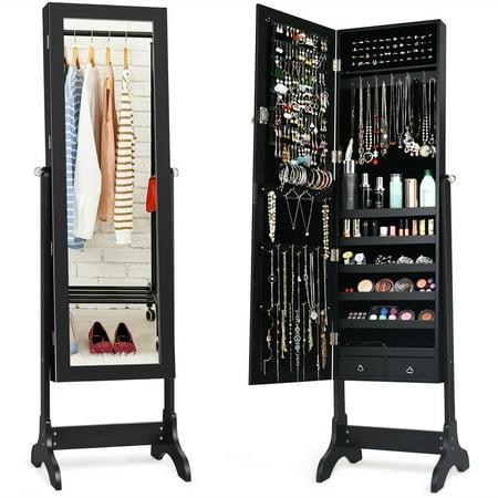 Costway Lockable Mirrored Jewelry Cabinet Armoire Storage Organizer Box w/ Drawers Black Mirror Jewelry Organizer