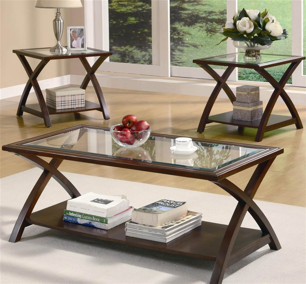 Coaster 3-Piece Table Set, Warm Light Bourbon Finish