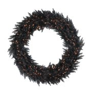 "Vickerman 72"" Prelit Black Ashley Spruce Artificial Christmas Wreath - Clear Lights"